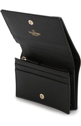Кожаный кошелек Valentino Garavani Rockstud Valentino черного цвета | Фото №3
