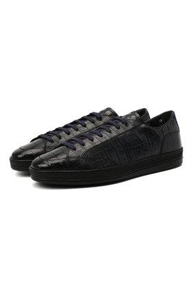 Кожаные кеды на шнуровке с внутренней меховой отделкой Doucal's темно-синие | Фото №1