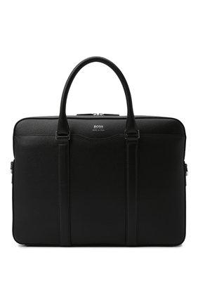 Мужская кожаная сумка для ноутбука BOSS черного цвета, арт. 50390902 | Фото 1