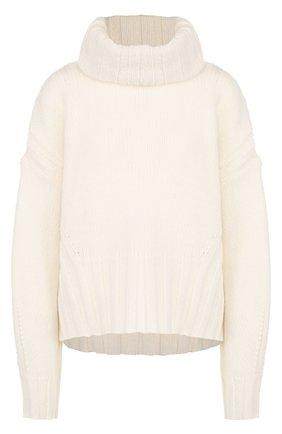 Шерстяной пуловер со спущенным рукавом и воротником-стойкой BOSS белый | Фото №1