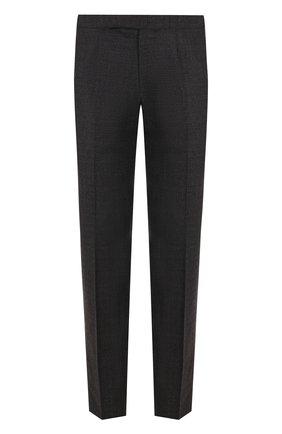 Шерстяные брюки прямого кроя Ermenegildo Zegna темно-серые | Фото №1