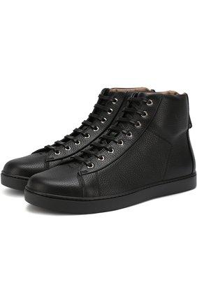 Высокие кожаные кеды на шнуровке | Фото №1