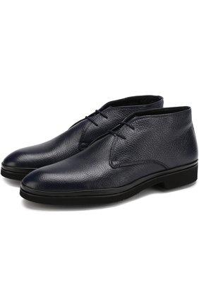 Кожаные ботинки на шнуровке с внутренней меховой отделкой Aldo Brue темно-синие | Фото №1