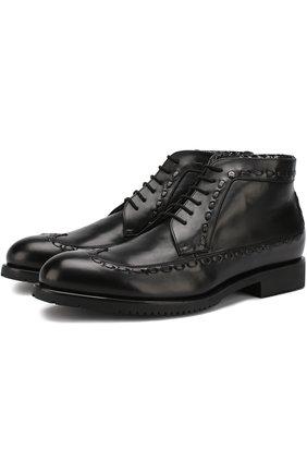 Кожаные ботинки на шнуровке с молнией Aldo Brue черные | Фото №1