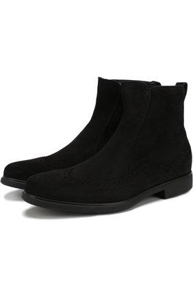 Замшевые ботинки с брогированием Aldo Brue темно-коричневые | Фото №1