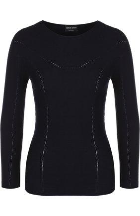 Однотонный пуловер из смеси шерсти и кашемира | Фото №1