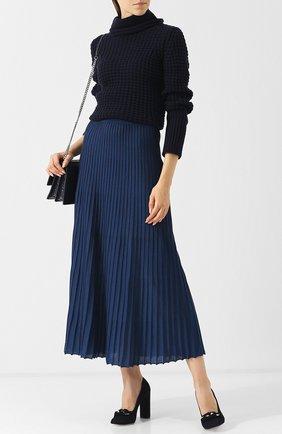 Вязаный пуловер из смеси шерсти и кашемира Giorgio Armani темно-синий | Фото №1