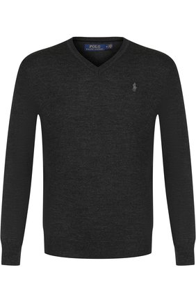 Мужской шерстяной пуловер POLO RALPH LAUREN темно-серого цвета, арт. 710714347 | Фото 1