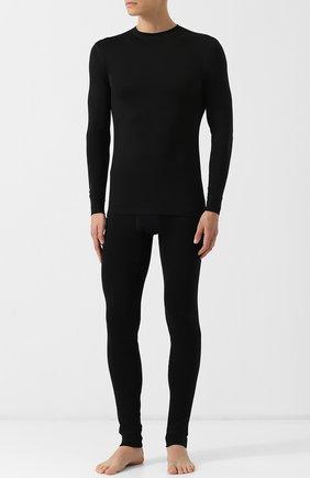 Шерстяной лонгслив с круглым вырезом Norveg черная | Фото №1
