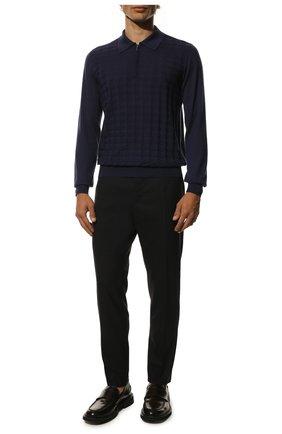 Мужское поло с длинными рукавами из смеси кашемира и шелка ZILLI темно-синего цвета, арт. MBQ-PZ032-PIED2/ML03 | Фото 2