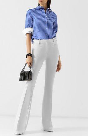 Женские шерстяные расклешенные брюки со стрелками TOM FORD белого цвета, арт. PAW159-FAX431 | Фото 2 (Длина (брюки, джинсы): Удлиненные; Материал внешний: Шерсть; Статус проверки: Проверено, Проверена категория; Женское Кросс-КТ: Брюки-одежда)