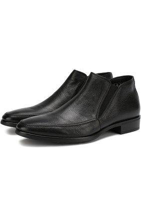 Кожаные ботинки с эластичными вставками Aldo Brue черные | Фото №1