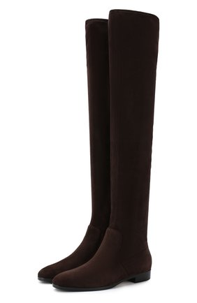 Замшевые ботфорты на низком каблуке Sergio Rossi темно-коричневые | Фото №1