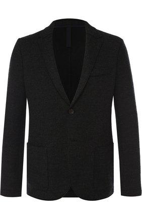 Однобортный шерстяной пиджак Harris Wharf London темно-серый | Фото №1