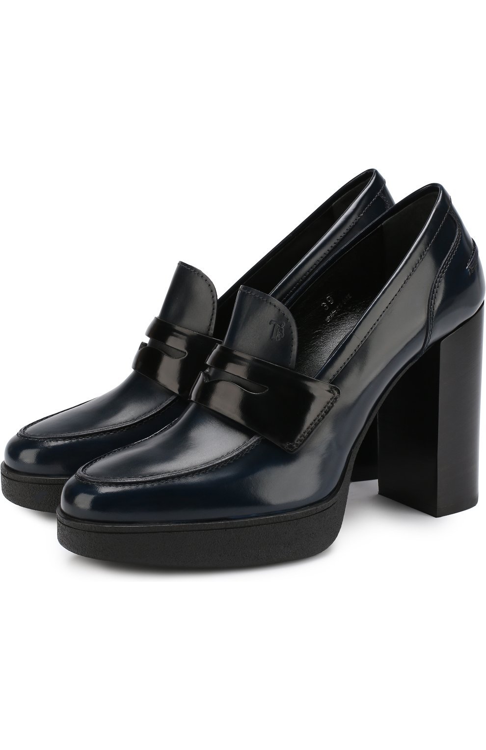 Кожаные туфли на устойчивом каблуке и платформе | Фото №1