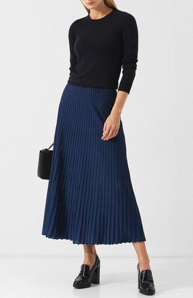 Женская кожаные туфли на устойчивом каблуке и платформе TOD'S синего цвета, арт. XXW41A0U370SHA | Фото 2