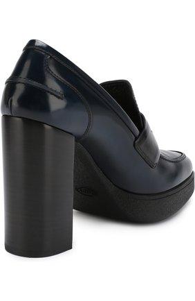 Кожаные туфли на устойчивом каблуке и платформе | Фото №4