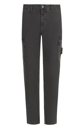 Хлопковые брюки-карго прямого кроя Stone Island темно-серые | Фото №1