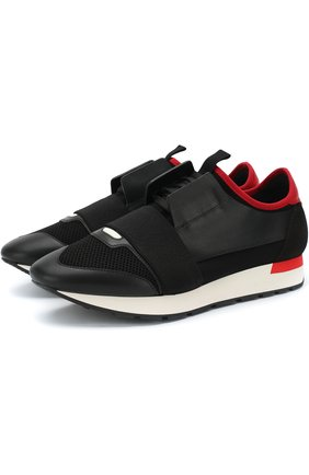 Комбинированные кроссовки Race на шнуровке | Фото №1