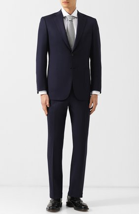 Мужской шерстяной костюм с пиджаком на двух пуговицах BRIONI темно-синего цвета, арт. RA0J00L/P4AIB/BRUNIC0/2 | Фото 1