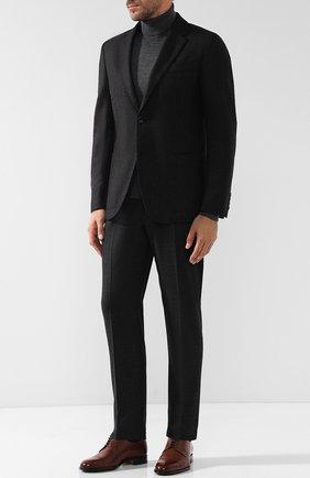 Однобортный шерстяной пиджак Ermenegildo Zegna темно-коричневый | Фото №1