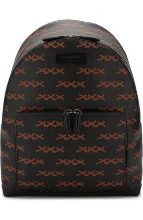 Рюкзак с отделкой из кожи Ermenegildo Zegna черный | Фото №1