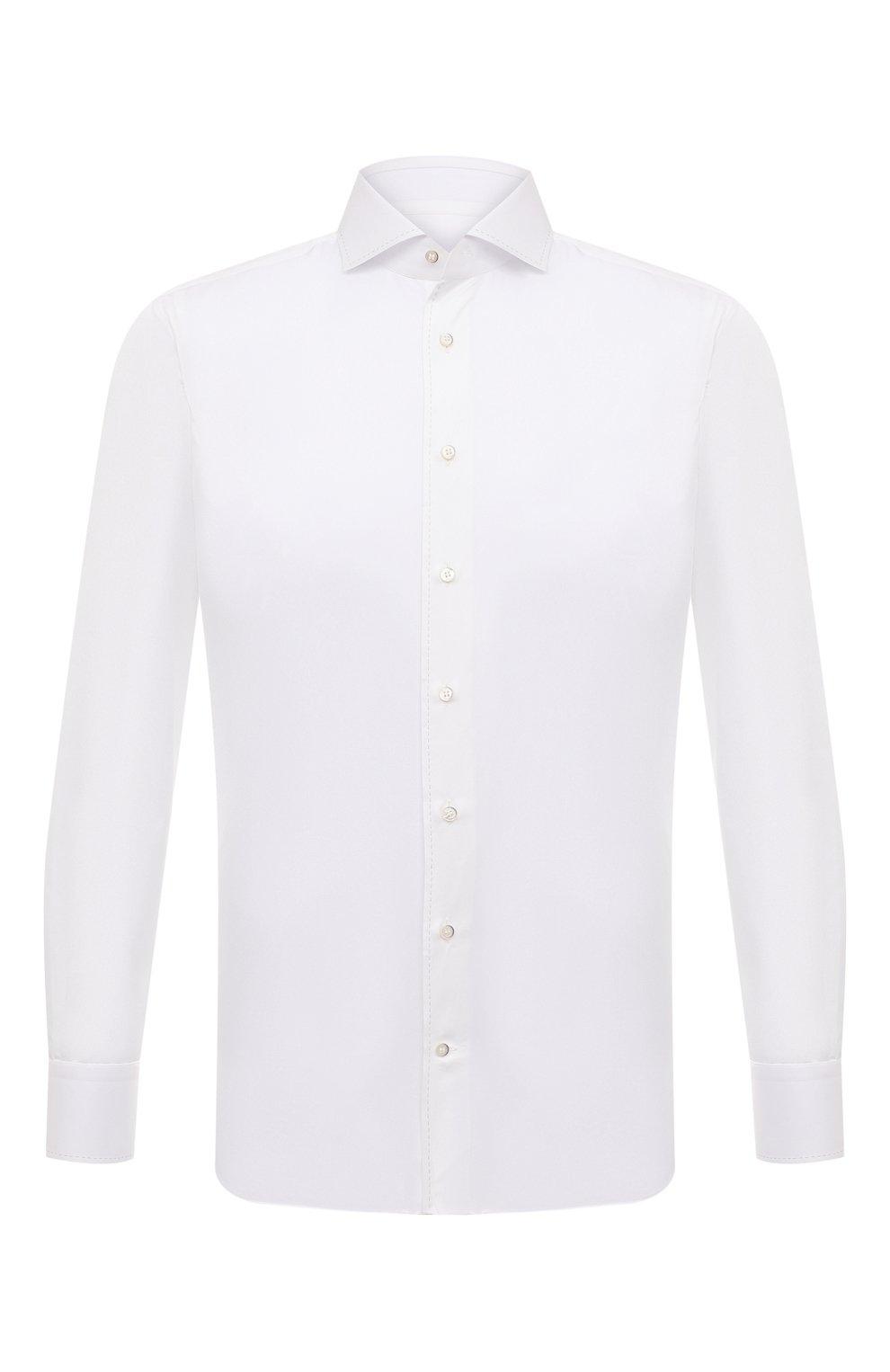 Мужская хлопковая сорочка с воротником кент ZILLI белого цвета, арт. MFQ-MERCU-10715/RZ01 | Фото 1