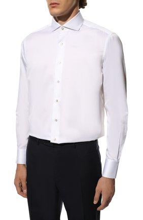 Мужская хлопковая сорочка с воротником кент ZILLI белого цвета, арт. MFQ-MERCU-10715/RZ01 | Фото 3