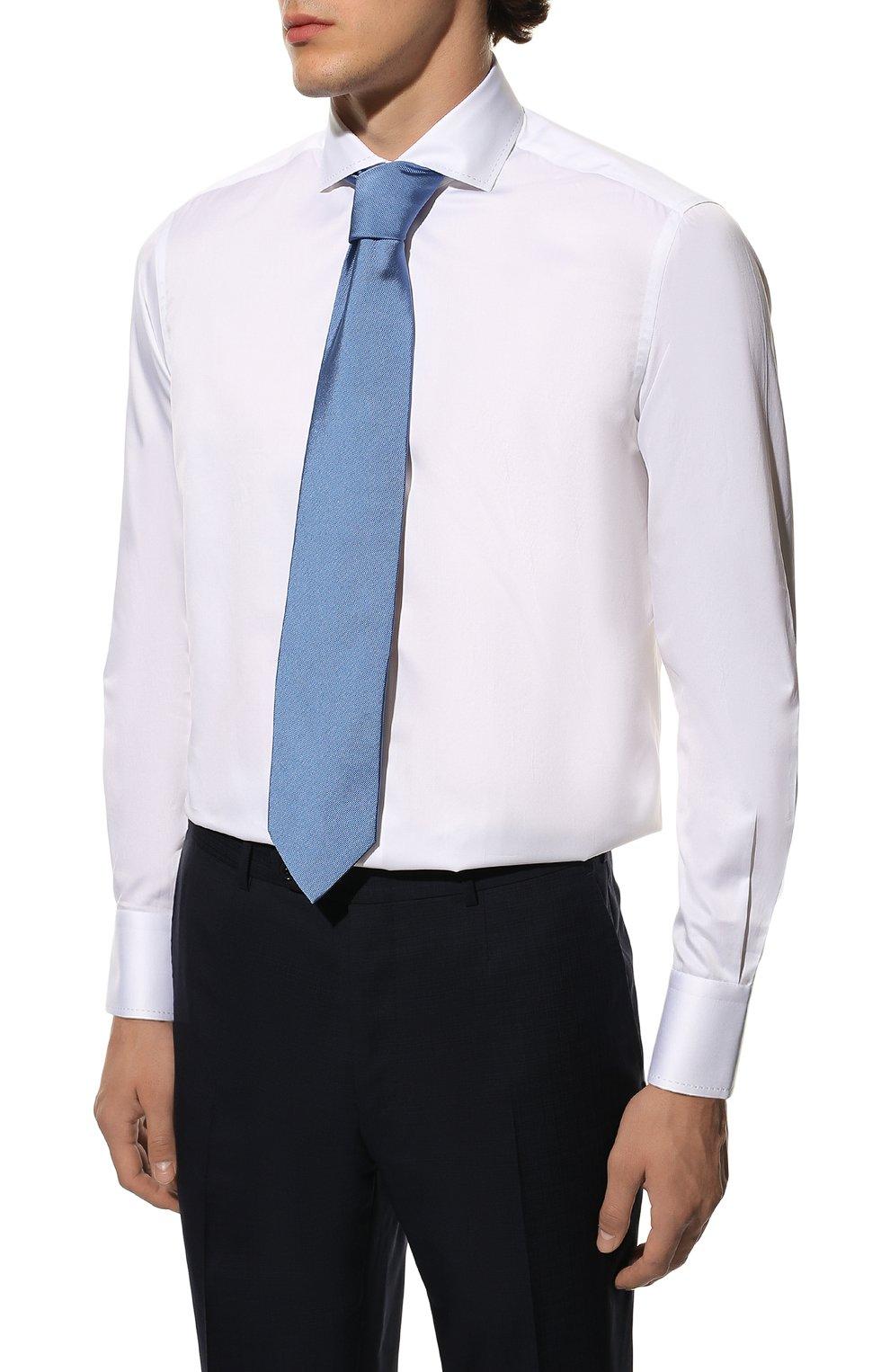Мужская хлопковая сорочка с воротником кент ZILLI белого цвета, арт. MFQ-MERCU-10715/RZ01 | Фото 4