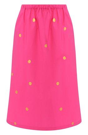 Хлопковая юбка с эластичным поясом в горох | Фото №1