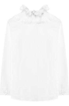 Детская хлопковая блуза с декоративным воротником Aletta белого цвета   Фото №1