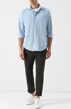 Хлопковая рубашка с воротником акула Eleventy UOMO синяя   Фото №1
