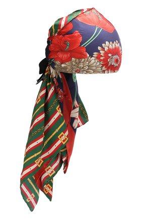 Шелковый тюрбан с принтом и декоративным бантом | Фото №1