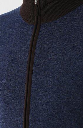 Мужской кардиган из шерсти и кашемира GRAN SASSO синего цвета, арт. 55106/19669   Фото 5