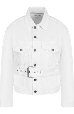 Джинсовая куртка с поясом и накладными карманами