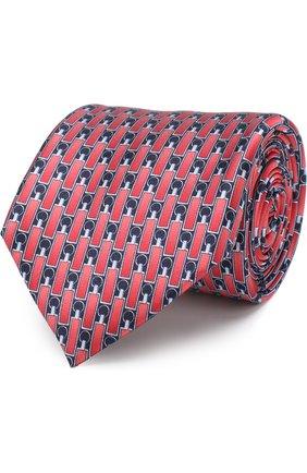 Шелковый галстук с узором Zilli синего цвета | Фото №1