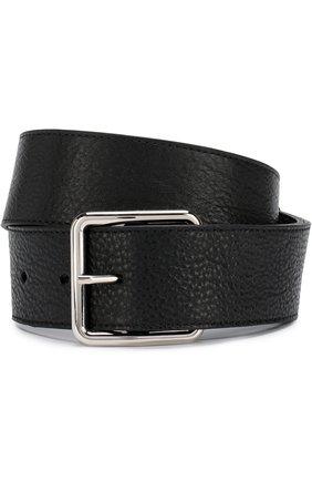 Кожаный ремень с металлической пряжкой Alexander McQueen черный   Фото №1