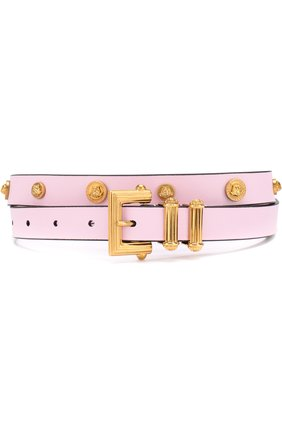 Кожаный ремень с металлической пряжкой Versace розовый | Фото №1