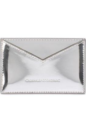 Футляр для кредитных карт из металлизированной кожи CALVIN KLEIN 205W39NYC серебряного цвета | Фото №1