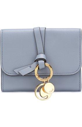Кожаный кошелек Alphabet Chloé голубого цвета | Фото №1