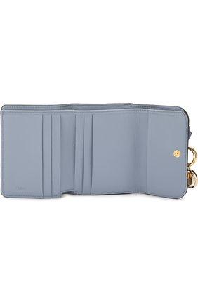 Кожаный кошелек Alphabet Chloé голубого цвета | Фото №3
