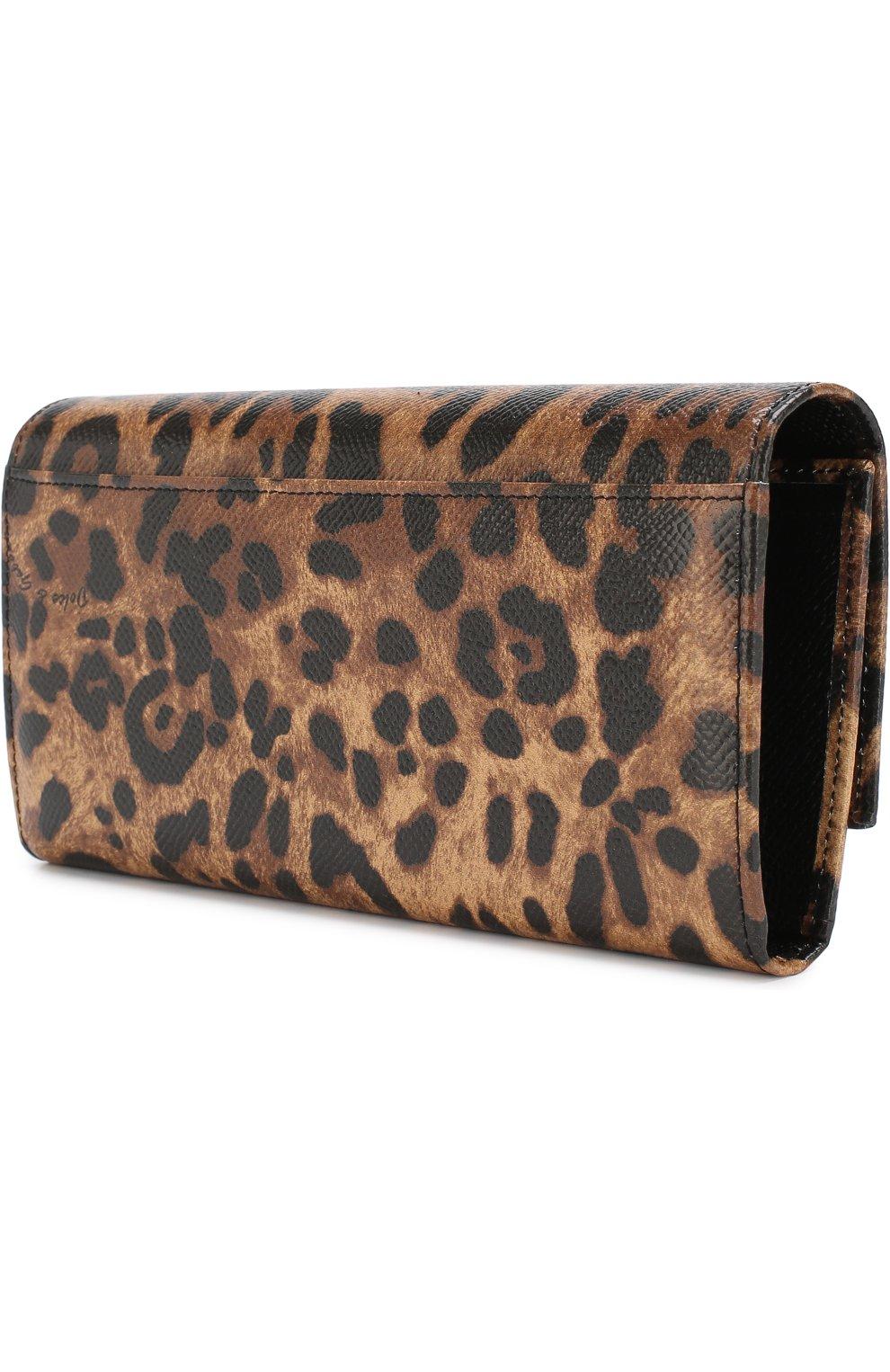 Кожаный кошелек с клапаном и леопардовым принтом | Фото №2
