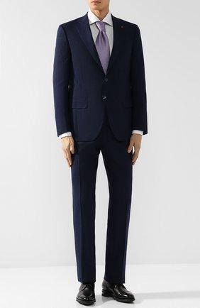 Шерстяной костюм с пиджаком на двух пуговицах Isaia темно-синий | Фото №1