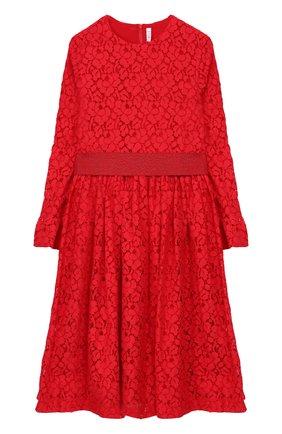Детское платье из хлопка с кружевной отделкой и широким поясом Il Gufo красного цвета | Фото №1