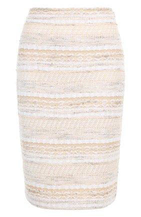 Вязаная юбка-карандаш на молнии St. John бежевая | Фото №1