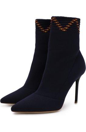 Текстильные ботильоны Mariah на шпильке Malone Souliers темно-синие | Фото №1