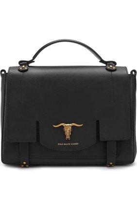 Сумка из кожи с фигурной пряжкой Polo Ralph Lauren черная цвета | Фото №1