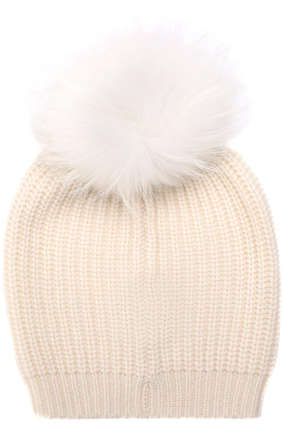 Кашемировая шапка фактурной вязки с меховым помпоном | Фото №2