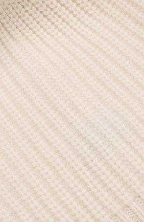 Кашемировая шапка фактурной вязки с меховым помпоном | Фото №3