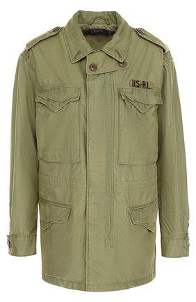 Хлопковая куртка с накладными карманами Polo Ralph Lauren оливковая | Фото №1